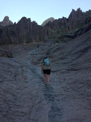 Climbing up the lava chute
